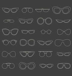 Linear eyewear set various sunglasses shape set vector