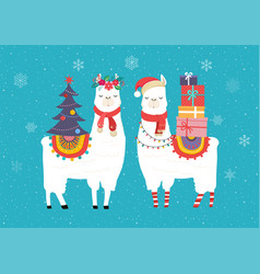 Llama winter cute design for nursery vector