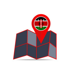 Map kenya is isolated with country flags vector