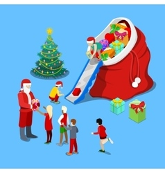 Merry Christmas Isometric Greeting Card vector image