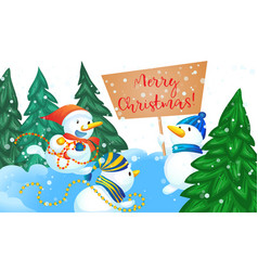 merry christmas snowman concept banner cartoon vector image