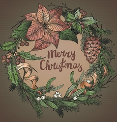Merry Christmasr greeting card with winter plant vector image vector image