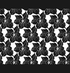 monochrome seamless pattern with black silhouettes vector image
