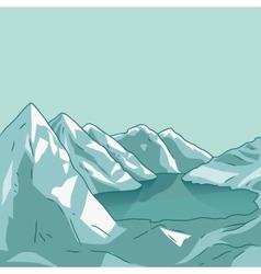 Mountain landscape glacial lake vector