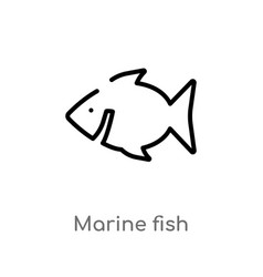 outline marine fish icon isolated black simple vector image