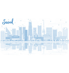 outline seoul korea skyline with blue buildings vector image