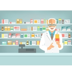 Pharmacist counter man with medicine in pharmacy vector image