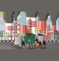Plant smoking pipes garbage bin full trash vector