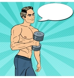 Pop Art Athletic Man Exercising with Dumbbells vector image