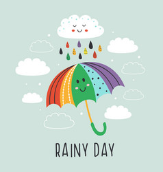 Poster with cute umbrella and rain cloud vector
