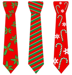 Red Christmas ties with print on white vector