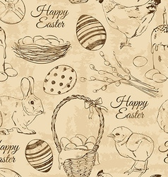 Retro seamless pattern of Easter symbols vector
