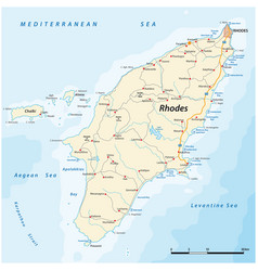 Road and beach map rhodes greece vector