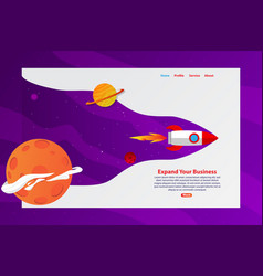 rocket explore the space expand your business web vector image