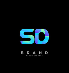 Sd initial logo with colorful template vector