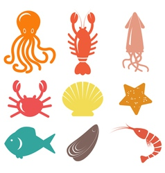 Seafood icons Sea life vector image