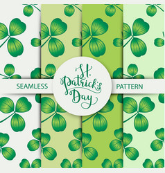 seamless clover pattern set with three leaf vector image