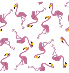 Seamless funny cartoon flamingo vector