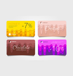 Set discount cards with flowing liquids honey vector