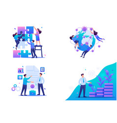 Set flat2d concept teamwork investment and growth vector