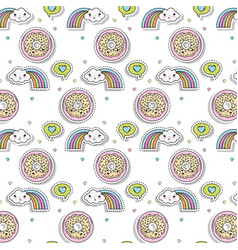 set of icons kawaii character vector image