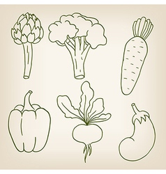 Set of six cute vegetables vector image