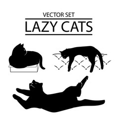 set of three cat icons vector image