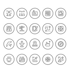 set round line icons navigation vector image