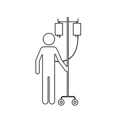 Silhouette pictogram person hospitalized icon flat vector