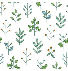 Simple hand drawn floral branches summer field vector