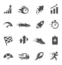 speed and performance black and white glyph icons vector image