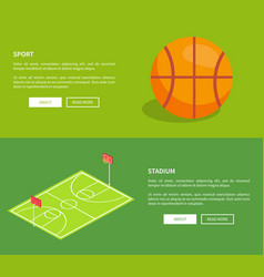 Sport stadium posters with basketball playground vector