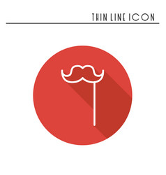 stylish paper fake mustache on a stick line icon vector image