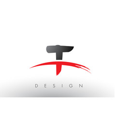 T brush logo letters with red and black swoosh vector