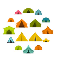 tent forms icons set in flat style vector image