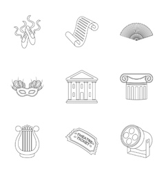 Theater set icons in outline style Big collection vector image
