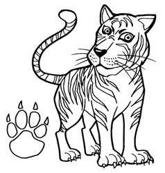 tiger with paw print Coloring Page vector image