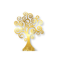 tree life tree natural logo gold leaf style vector image