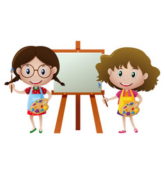 Two girls painting on canvas vector