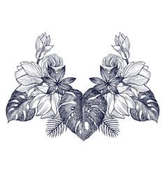 vintage frame border monogram tropical floral vector image