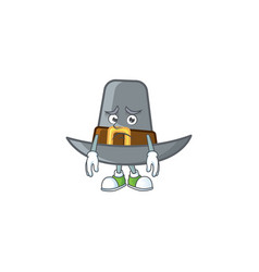 Vintage pilgrim hat isolated with mascot afraid vector