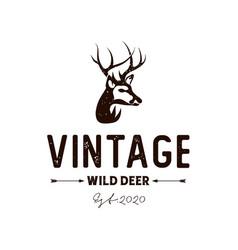 vintage rustic deer hunter logo design vector image