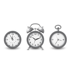 watches and alarm clock collection in silver vector image