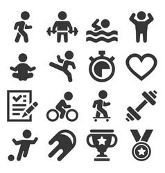 wellness sport and fitness icons set vector image