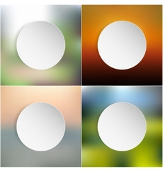 White paper round notes set on blurred background vector image