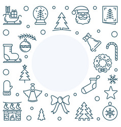xmas or new year holiday line square frame vector image