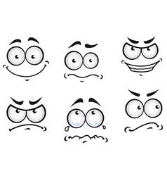 Cartoon comics faces set vector image vector image