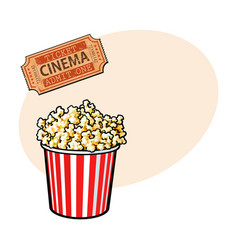 cinema objects - popcorn bucket and retro style vector image vector image