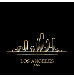 Gold silhouette of Los Angeles on black background vector image vector image
