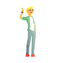 guy in shades jeans and green jacket young vector image vector image